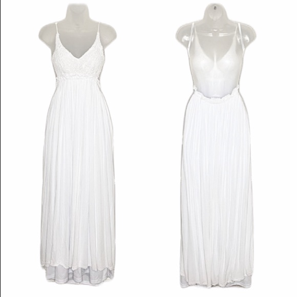 Wishlist Dresses & Skirts - Wishlist lace open back boho frayed hem maxi dress